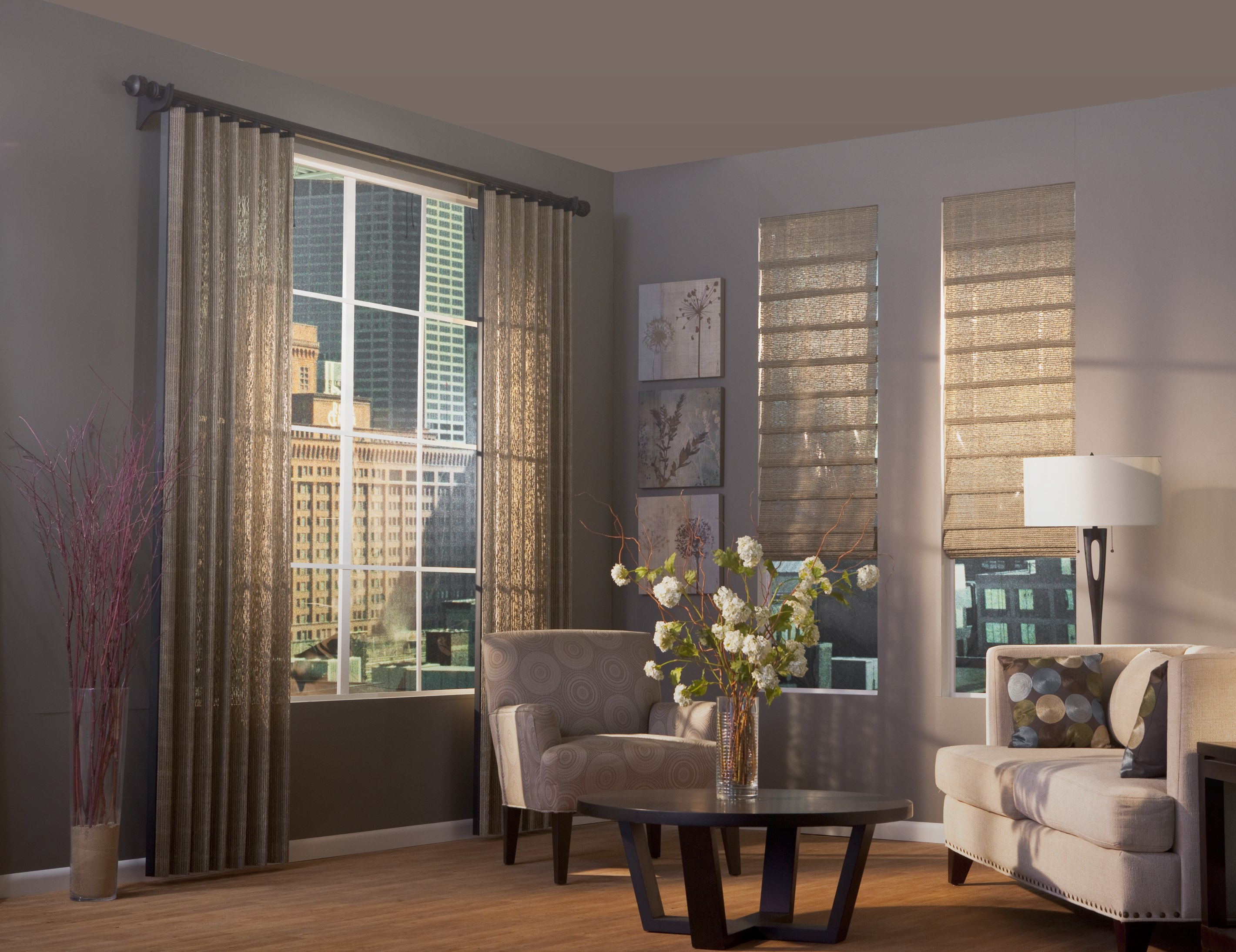 Natural Woven Shades blend the look of Vertical Blinds Drapes